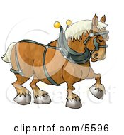 Belgian Heavy Draft Horse Clipart Illustration