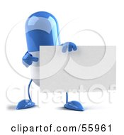 Blue 3d Pill Character Holding A Blank Business Card - Version 2