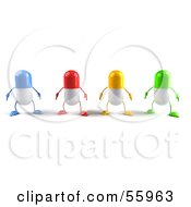3d Colorful Pill Characters Facing Front Version 1 by Julos