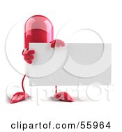 Pink 3d Pill Character Holding A Blank Business Card