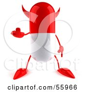 Royalty Free RF Clipart Illustration Of A 3d Red Pill Character Holding Up His Middle Finger Version 1