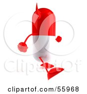Royalty Free RF Clipart Illustration Of A 3d Red Pill Character Walking Right