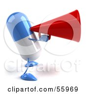 Royalty Free RF Clipart Illustration Of A 3d Blue Pill Character Speaking Through A Megaphone Version 2