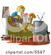 Funny Turkey Family Standing And Sitting Around Watching TV Clipart Illustration