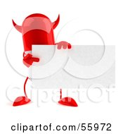 Royalty Free RF Clipart Illustration Of A Red Devil 3d Pill Character Holding A Blank Business Card Version 2