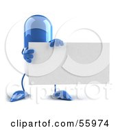 Blue 3d Pill Character Holding A Blank Business Card - Version 1