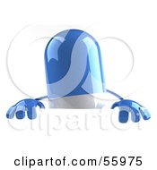 3d Blue Pill Character Standing Behind A Blank Sign by Julos