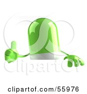 3d Green Pill Character Giving The Thumbs Up by Julos
