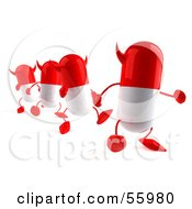 Royalty Free RF Clipart Illustration Of 3d Red Devil Pill Characters Marching Forward Version 2