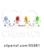 3d Colorful Pill Characters Marching Forward - Version 3
