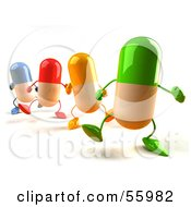 3d Colorful Pill Characters Marching Forward - Version 4