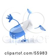3d Blue Pill Character Doing A Cartwheel - Version 3