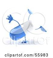 3d Blue Pill Character Doing A Cartwheel Version 3 by Julos