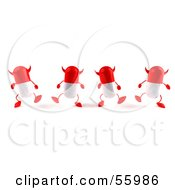3d Red Devil Pill Characters Marching Forward - Version 1