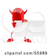 Royalty Free RF Clipart Illustration Of A Red Devil 3d Pill Character Holding A Blank Business Card Version 1