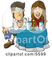 Uncomfortable Couple Sitting At A Dinner Table On Their First Date Clipart Illustration