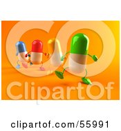 3d Colorful Pill Characters Marching Forward Version 2 by Julos