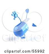 3d Blue Pill Character Doing A Cartwheel - Version 4