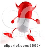 Royalty Free RF Clipart Illustration Of A 3d Red Pill Character Walking Forward by Julos