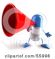 Royalty Free RF Clipart Illustration Of A 3d Blue Pill Character Speaking Through A Megaphone Version 1