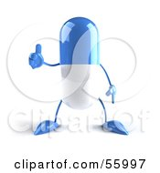 Royalty Free RF Clipart Illustration Of A 3d Blue Pill Character Giving The Thumbs Up Version 1