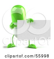 Green 3d Pill Character Holding A Blank Business Card