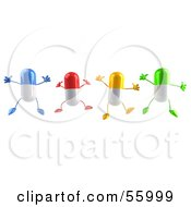 Royalty Free RF Clipart Illustration Of 3d Colorful Pill Characters Jumping Version 1