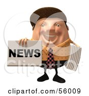Royalty Free RF Clipart Illustration Of A 3d Chubby Newsman Character Holding Up A Paper Version 4