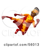 Royalty Free RF Clipart Illustration Of A 3d Black Male Super Hero Doing A Flying Kick