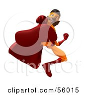 Royalty Free RF Clipart Illustration Of A 3d Black Male Super Hero Kicking Forward