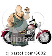 Fat Bald Biker Man Standing Beside His Motorcycle With An Empty Beer Bottle Clipart Illustration