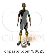 Royalty Free RF Clipart Illustration Of A 3d Athlete Man Standing With A Soccer Ball At His Feet Version 1 by Julos