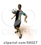 Royalty Free RF Clipart Illustration Of A 3d Athlete Man Bouncing A Soccer Ball Off Of His Chest Version 1 by Julos