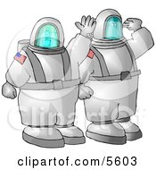 American Man And Woman Astronauts Traveling To Space On A NASA Shuttle Clipart Illustration