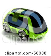 Royalty Free RF Clipart Illustration Of A 3d Futuristic Green Car With Tinted Windows Version 1