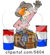Professional Rodeo Cowgirl Riding A Wooden Barrel Clipart Illustration