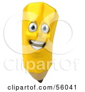 Royalty Free RF Clipart Illustration Of A 3d Happy Yellow Pencil Character Version 3