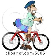 Happy Man Wearing A Safety Helmet While Riding A Bicycle Clipart Illustration