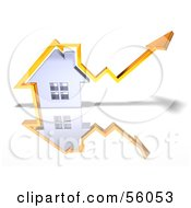 Royalty Free RF Clipart Illustration Of A 3d Chrome Home With An Orange Arrow Going Over The Top Version 3