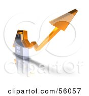 Royalty Free RF Clipart Illustration Of A 3d Chrome Home With An Orange Arrow Going Over The Top Version 1