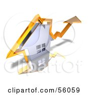 Royalty Free RF Clipart Illustration Of A 3d Chrome Home With An Orange Arrow Going Over The Top Version 2