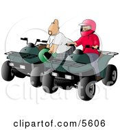 Father And Son Man And Boy Riding ATV Four Wheelers Clipart Illustration