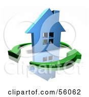 3d Blue Home Surrounded By Circling Green Arrows Version 1 by Julos