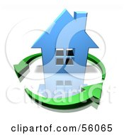 3d Blue Home Surrounded By Circling Green Arrows Version 3 by Julos