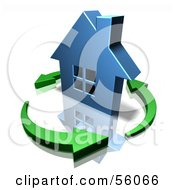 3d Blue Home Surrounded By Circling Green Arrows Version 2 by Julos
