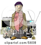 Male Robber Standing In Front Of Stolen Items Clipart Illustration