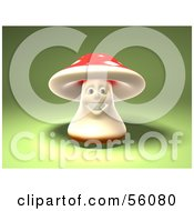 Royalty Free RF Clipart Illustration Of A 3d Fly Agaric Mushroom Character Smiling And Facing Front Version 2
