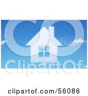 Royalty Free RF Clipart Illustration Of A 3d Faint Blue House In A Sky Version 1