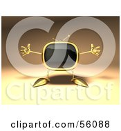 Royalty Free RF Clipart Illustration Of A 3d Golden Television Character Holding His Arms Open Version 2
