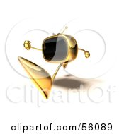 Royalty Free RF Clipart Illustration Of A 3d Golden Television Character Running Version 4